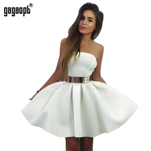 Gagaopt 2016 Summer Dresses Strapless Princess With Belt White Ball Gown Dress Mini Party Dresses Bodycon Vestido Robes(China (Mainland))