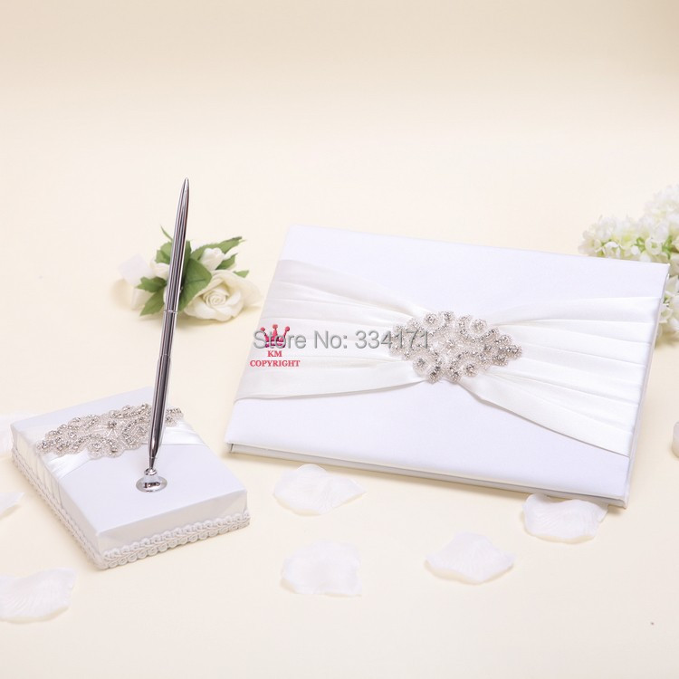 Free shipping New arrival classic rhinestone and pearl decorated Wedding Guest Book and Pen Set 1067(China (Mainland))