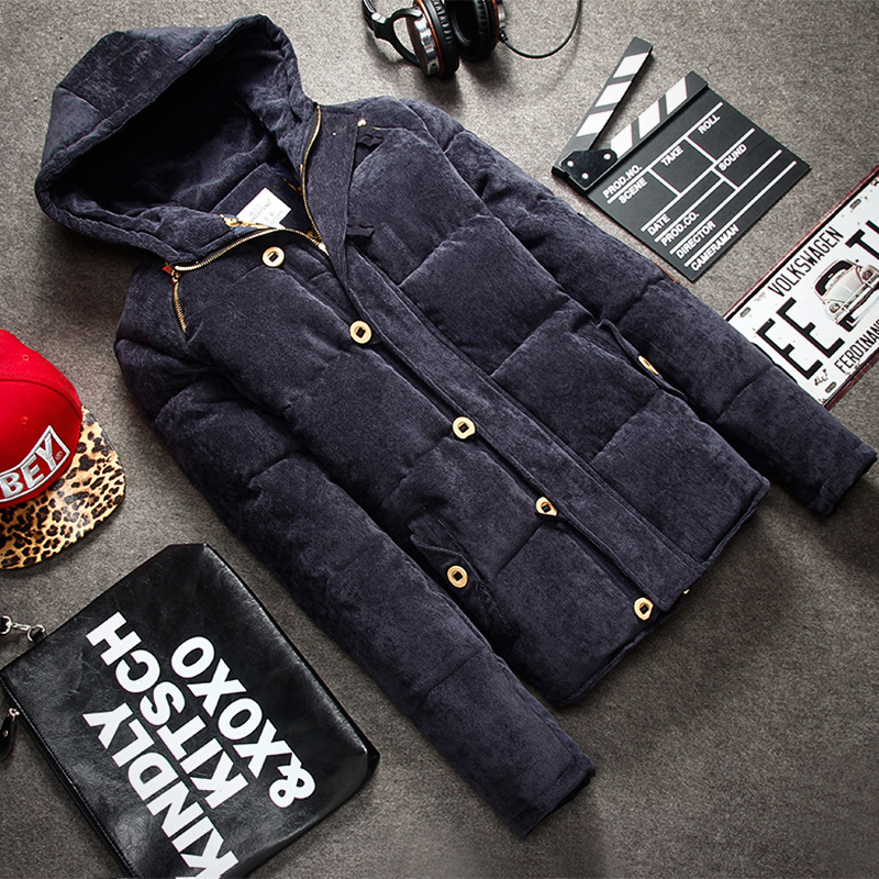 Fashion Outdoor coat Men s winter thick warm corduroy Down cotton Jacket Men hooded Coat Men