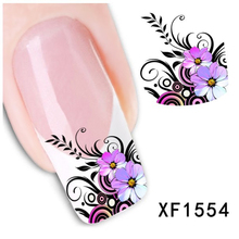 New Fashion Water Transfer Purple Flower Decal Women Nail Stickers Nail Art Acrylic Manicure Tips DIY Sell(China (Mainland))