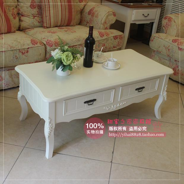 European-style garden white wood coffee table 1.1 m living room coffee table small apartment Korean ivory coffee table(China (Mainland))