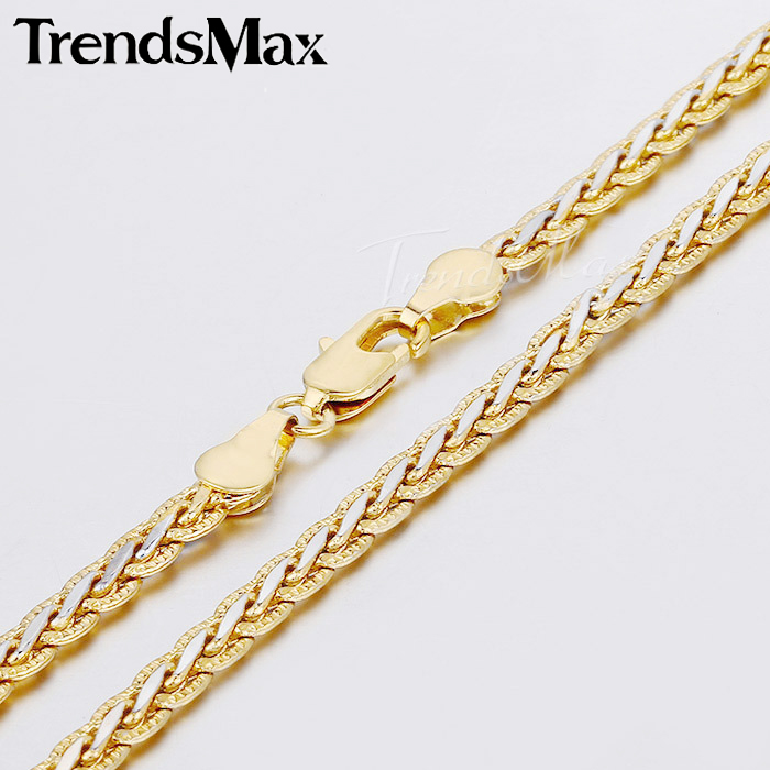 Fashion Jewelry Gift 3/4mm Womens Mens Chain Hammered Braided Wheat Link Yellow White Gold Filled Chain Necklace GN328 GN411(Hong Kong)