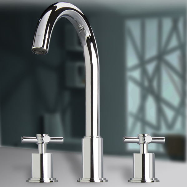 Cold and hot water double holes 3 split basin faucet rotating concealed piece set beightening(China (Mainland))