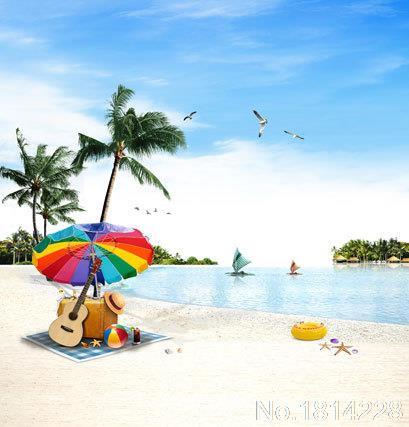 3x5FT Beach Coast Boats Sea Seagull Umbrella Guitar Suitcase Sand Photography Backdrops Studio Backgrounds Vinyl 1x1.5m(China (Mainland))
