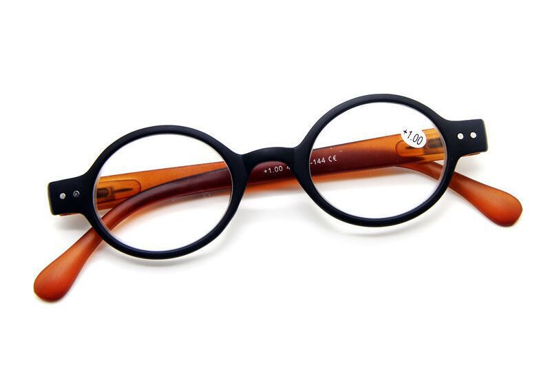 women reading glasses Thick Rim Frame SMALL ROUND READING GLASSES RETRO READERS EYEWEARS SPRING HINGES brown(China (Mainland))