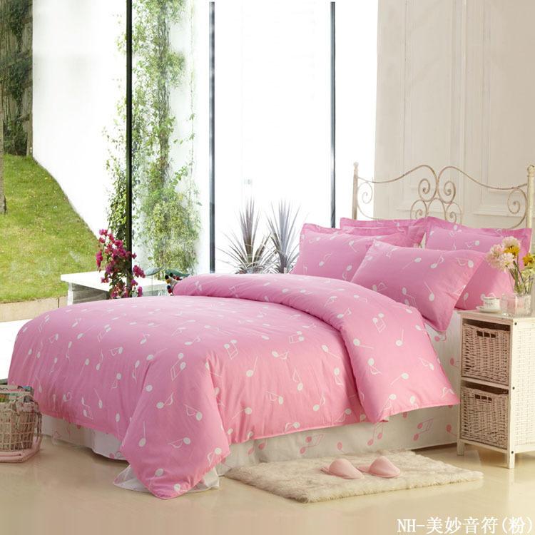 music note duvet cover set home textile bedding cotton bed sheets pink queen sets music. Black Bedroom Furniture Sets. Home Design Ideas