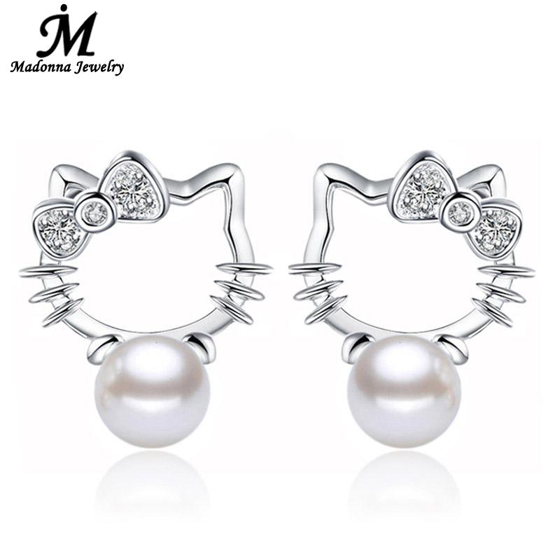 Fashion Cute Hello Kitty Cat Crystal Bow Design Silver Platedear Jewelry ABS Simulated Pearl Stud Earrings Wholesale(China (Mainland))