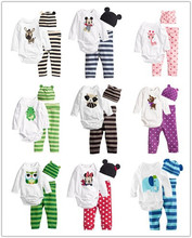 New 2014 cotton children baby boys girls clothes 3 pcs(Long-sleeved Romper+hat+pants)children clothing set