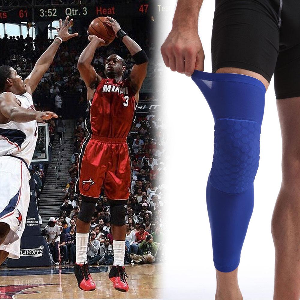 2PCS/SET Sports Professional Sport Honeycomb Long Brace Pad Breathable Leg Sleeve Knee Support Protector Basketball Football(China (Mainland))