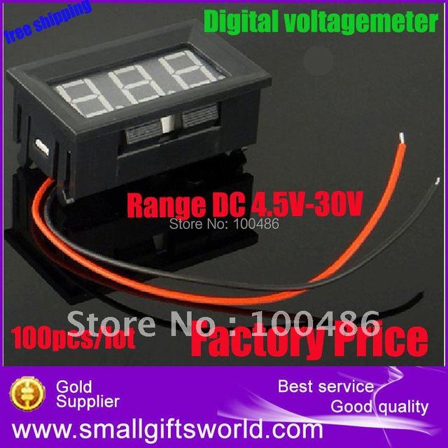 Free Shipping,10pcs/lot, Mini Red LED Digital Voltage Volt Meter 2.5~30V For 9V 12V 24V
