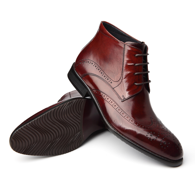 Boots men motorcycle boots genuine leather lacing ankle boots fashion