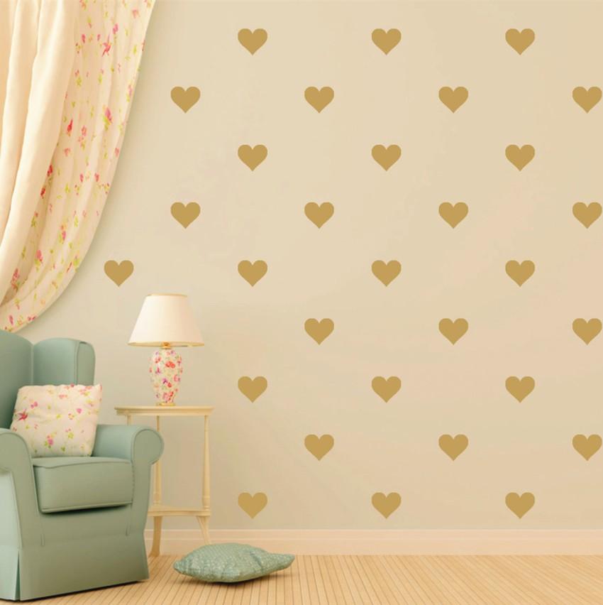 48pcs Gold Heart Shape Vinyl Wall Decal Removable Nursery