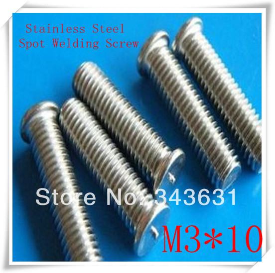200PCS/LOT  High  Quality M3*10 Stainless Steel  CD Welding Stud Welding Screws Spot  Welding Studs Weld Bolt<br><br>Aliexpress