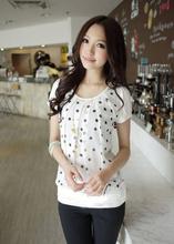 Korean Women's Girls Polka Dots Chiffon T-Shirt Casual Tops Short Sleeve T Shirts(China (Mainland))