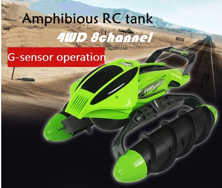 New amphibious RC tank 2.4G 6 channel ground car upgraded cross-country race trick tank toys for kids(China (Mainland))