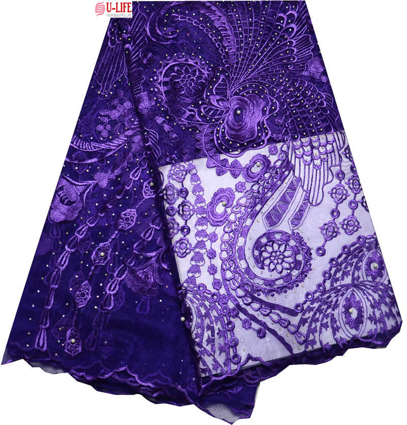 Beaded lace fabric Swiss voile 5 Yards Embroidery Purple Mesh French Netting F4-283