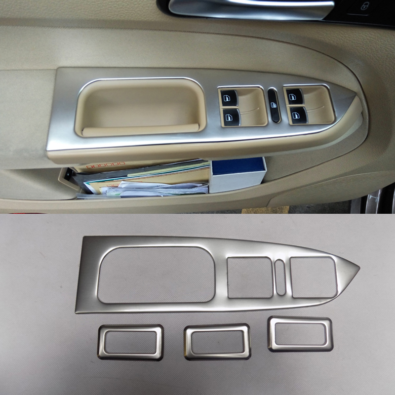 Car Styling 4pcs/set Interior Door Window Lift Switch Panel Cover For VW Touran 2013-2016 ABS Trim Decoration Accessories