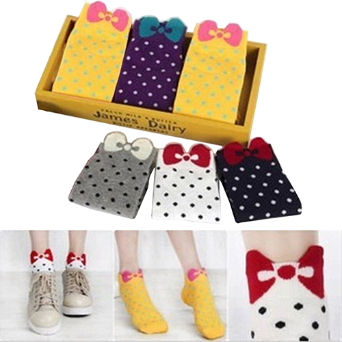 Winter Women Cute 3D Bow Polka Dot Pattern Candy Color Cotton Blended Ankle Short Socks 6X86(China (Mainland))