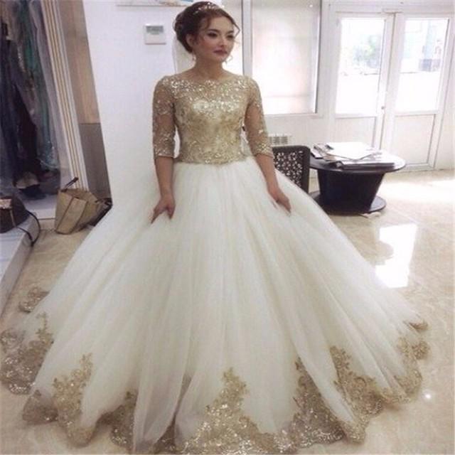 2016 половина рукава совок декольте бальное платье урожай свадебные платья с золотой ...