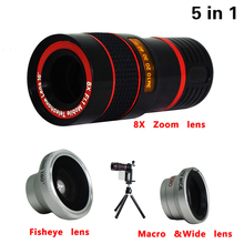 Buy Universal 5in1 Phone Camera Lenses Kit 8x Telephoto Lens Fisheye Wide Angle Macro Lentes Tripod iPhone 5 6 6s 7 Plus Samsung for $10.91 in AliExpress store