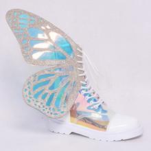 女性シルバーショートブーツと蝶の羽のファッション冬暖かいチェルシーのブーツの靴 2019 新レディースフラット Botine Mujer(China)