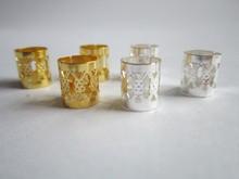 100Pcs/Lot  mix Silver Golden Plated  hair braid dread dreadlock beads adjustable cuff clip 8mm  clip+ 5pcs free beads(China (Mainland))