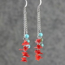 Red coral turquoise earrings fashion national trend jewelry fashion women drop earrings(China (Mainland))