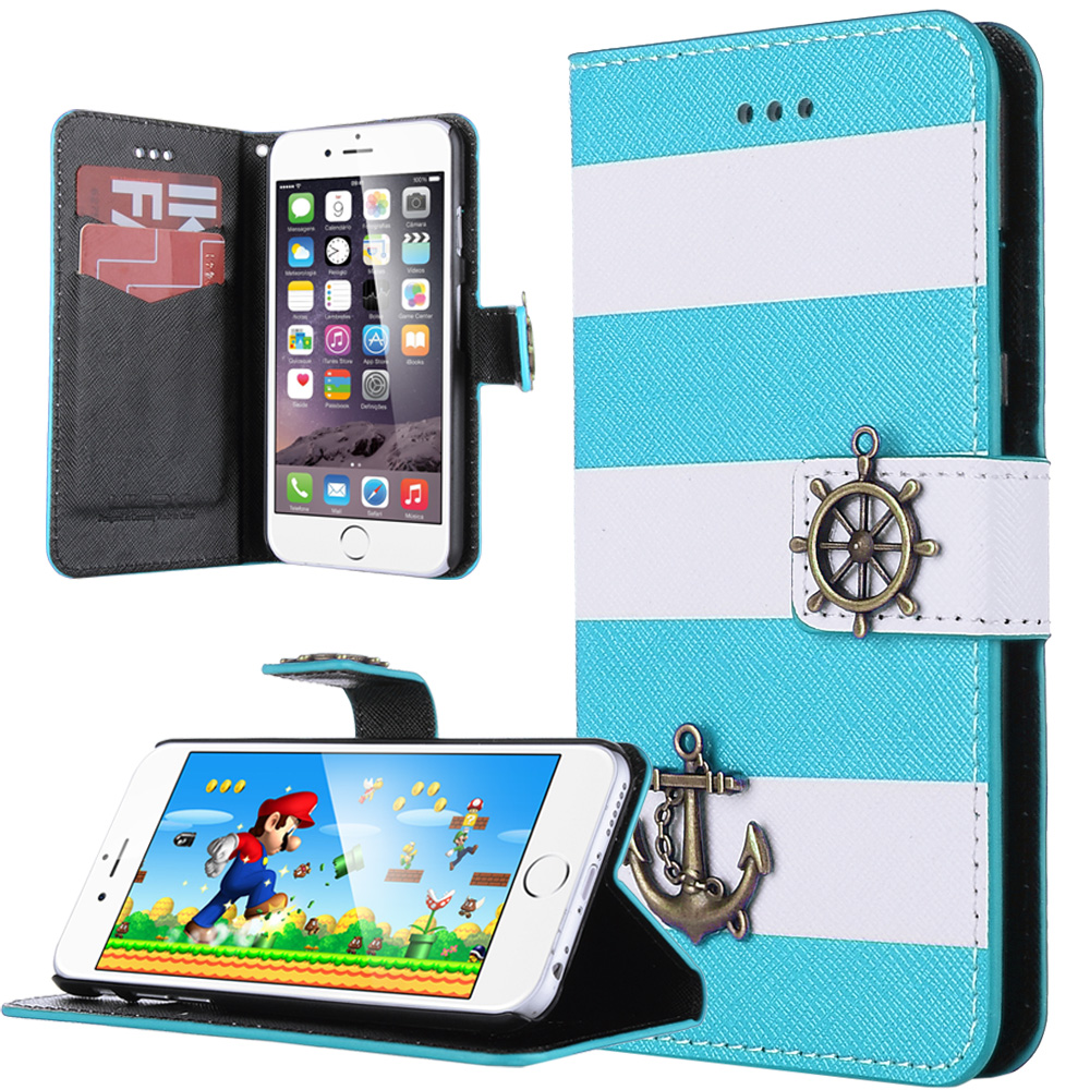 ULAK PU Leather Wallet Flip Case Stripes Anchor Rudder Nautical Design Case Cover for Apple iPhone 6/6s(4.7 inch)(China (Mainland))