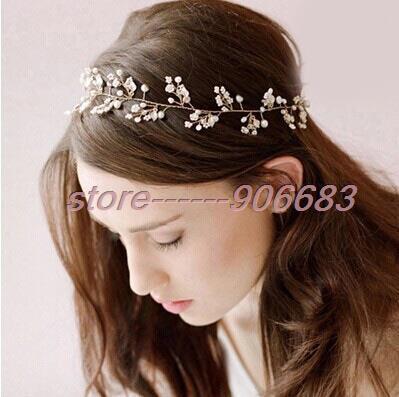 Free Shipping New Bride Hand-beaded Bridal Headdress Pearls Hair Accessories European Soft Hair Bands Headband Jewelry Studio(China (Mainland))