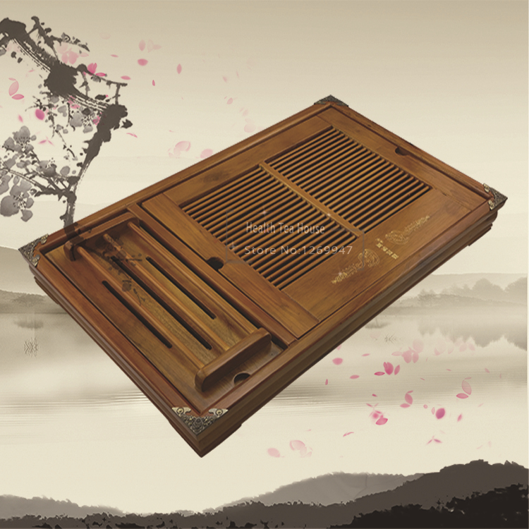 Free 5 Gifts 54cm *34cm *7cm Solid wood Tea Tray Chinese Kungfu Tea Board, Saucer Drawer Type Water teaboard large tea table(China (Mainland))