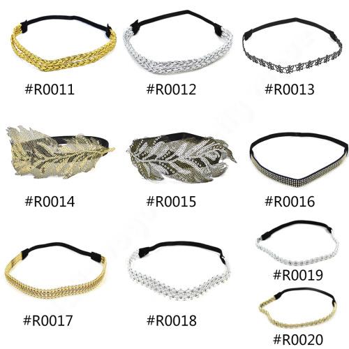 New Fashion women elastic hair bands insert rhinestone paillette hair bands gold silver hairwear(China (Mainland))