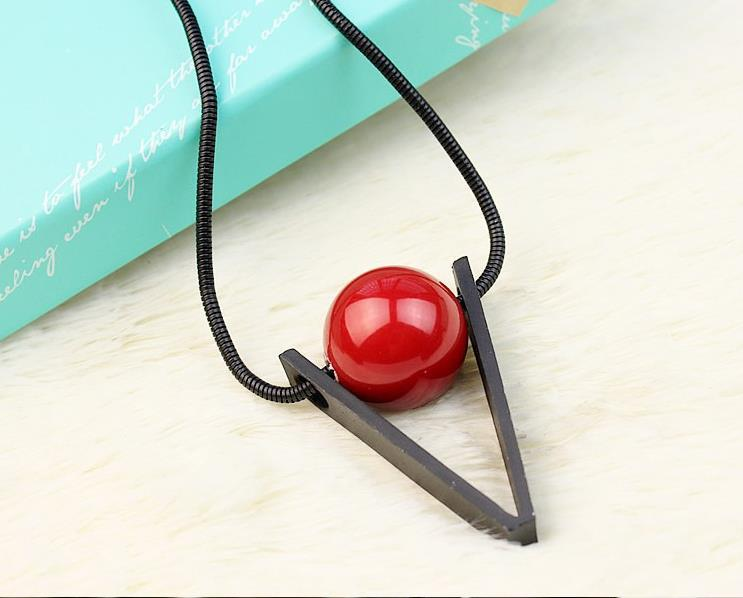 2015 exaggerated long sweater chain red triangle bead clothing accessories chain necklace pendant sweaters(China (Mainland))