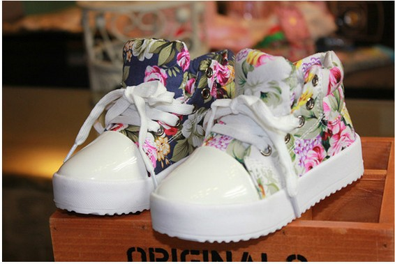 Fashion Children Sneakers Side Part Flower Floral Individuality Baby Kids Casual Sport Canvas Shoes Boys Girls Runing Shoes(China (Mainland))