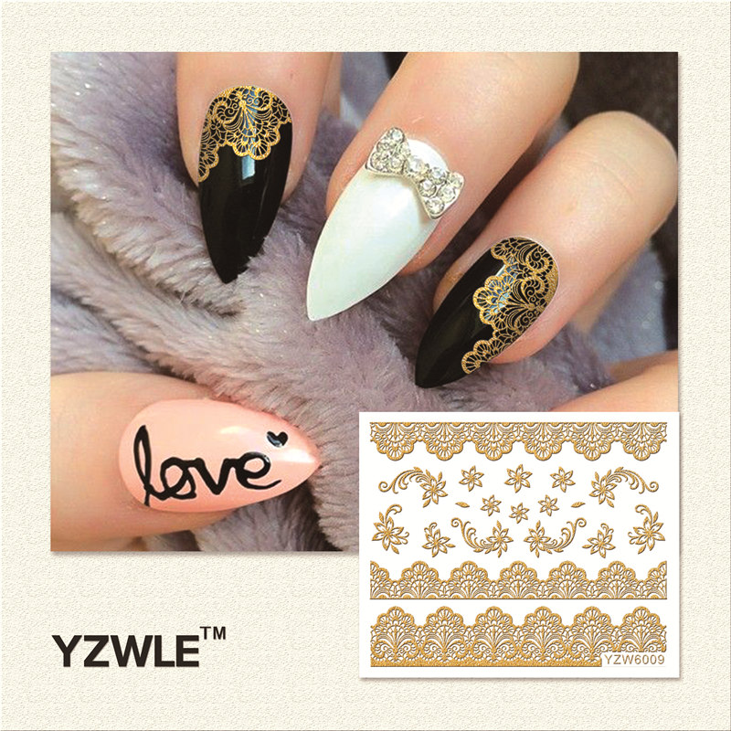 YZWLE 1 Sheet Hot Gold 3D Nail Art Stickers DIY Nail Decorations Decals Foils Wraps Manicure Styling Tools (YZW-6009)(China (Mainland))