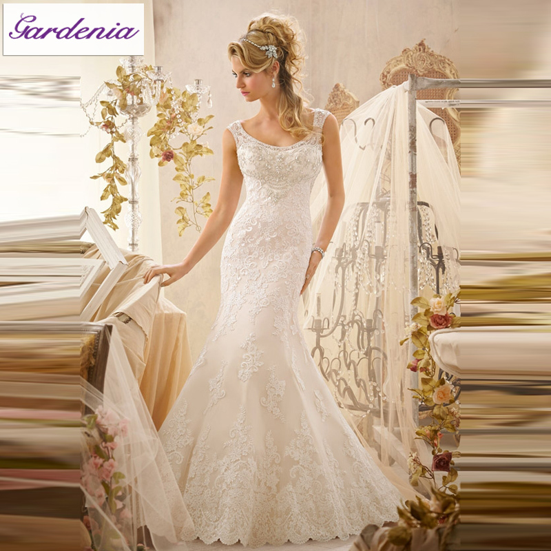 Gorgeous floor length appliqued sheath bridal gown lace for Wedding dress maker online