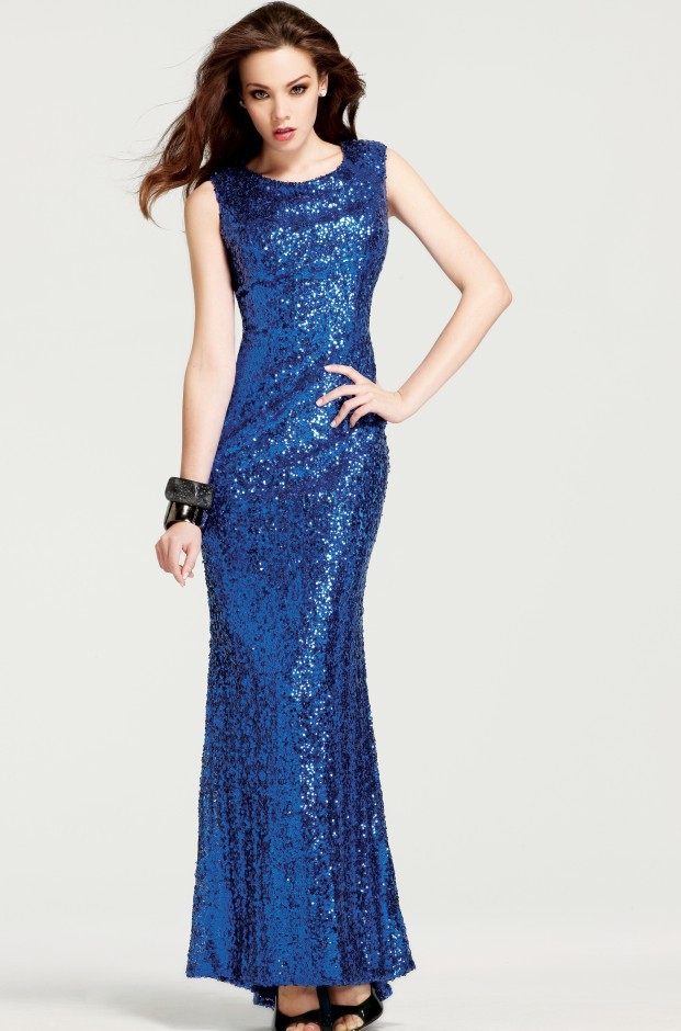 Midnight Blue Floor Length Mermaid Scoop Neck Evening ...