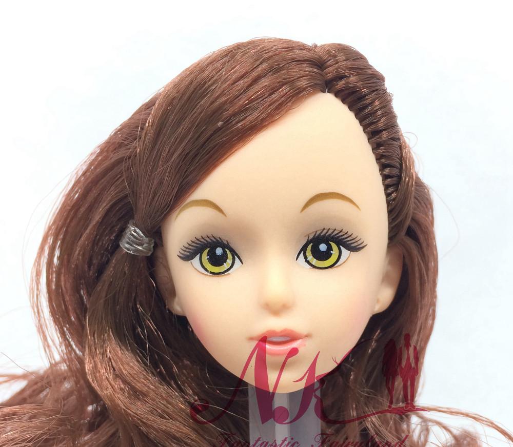 NK One Pcs Style Doll Head Brown Hair DIY Equipment For Barbie Kurhn Doll Finest Woman' Reward Little one DIY Toys 024D