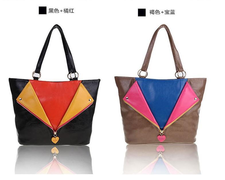Women Fashion Ziper Rivets Design Handbag Ladies Famous Luxury Spring/Autumn Handbag Free Shipping High Quality PU Leather Tote(China (Mainland))