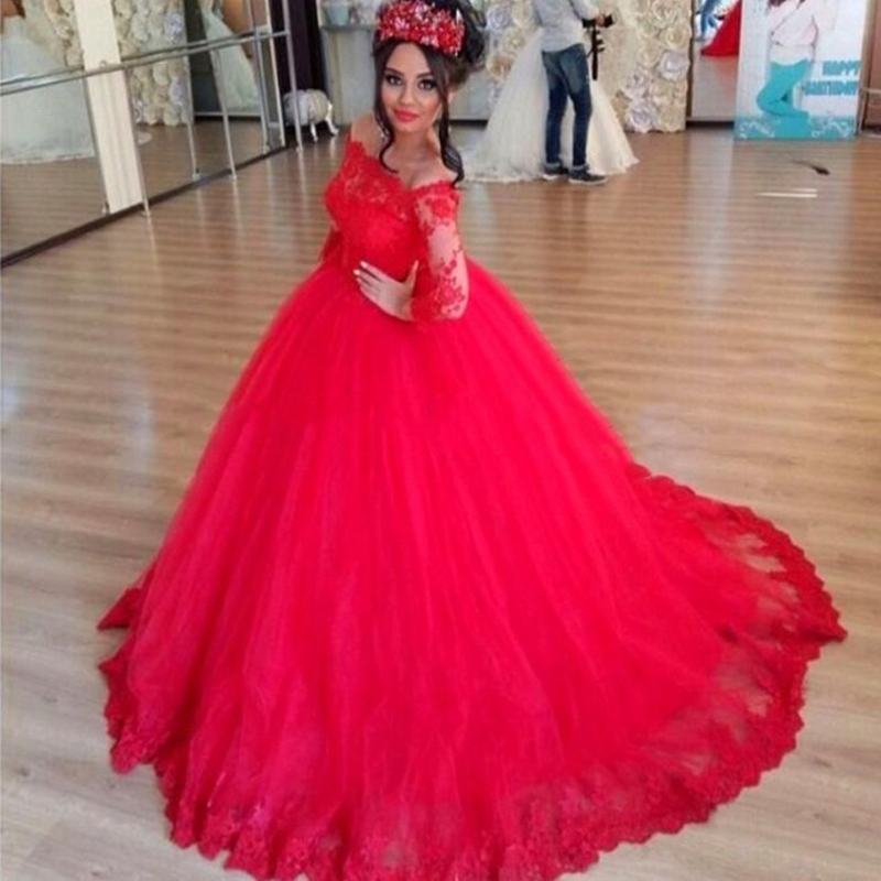 Sparkly Red Ball Gown Wedding Dresses 2016 Long Sleeve Muslim Lace Applique Custom Made Dubai Bridal Dresses With Sweep Train(China (Mainland))