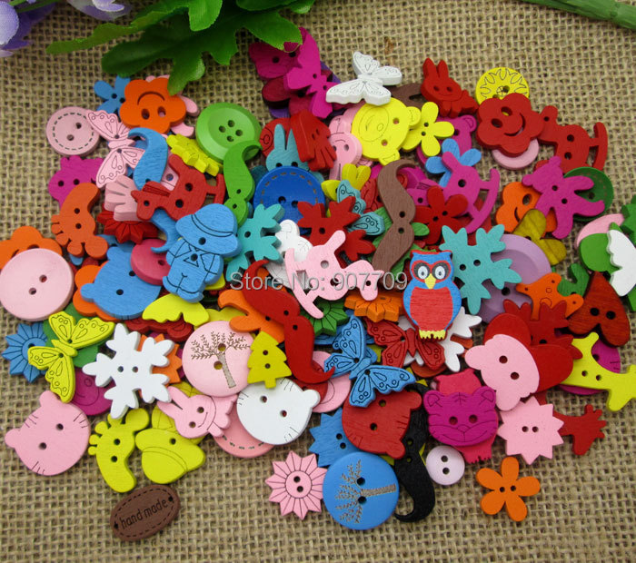 Гаджет  100Pcs Multicolor 2 Holes 4 Hole Random Mixed Dyed Sewing Buttons Scrapbook None Дом и Сад