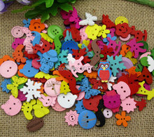 100Pcs Multicolor 2 Holes 4 Hole Random Mixed Dyed Sewing Buttons Scrapbook