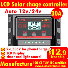 30A12V/24V LCD solar charge controller,solar charge regulator, timer and light control,Dual USB for Mobile charge,CE certified,(China (Mainland))