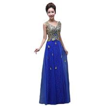 Golden Luxury Evening Dresses 2016 Vestido De Festa Longo Sexy Lace Slim Sleeveless Backless Long Vestidos Plus Size Hot  BV03(China (Mainland))
