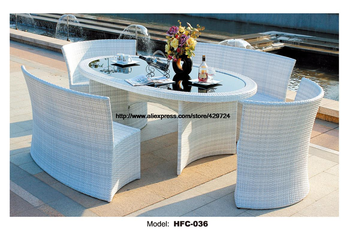 elegant white rattan garden set modern rectangle table 4. Black Bedroom Furniture Sets. Home Design Ideas