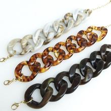 Woman Chain Link Bracelet Basic Leopard Resin Bracelet DIY Bracelet Black(China (Mainland))