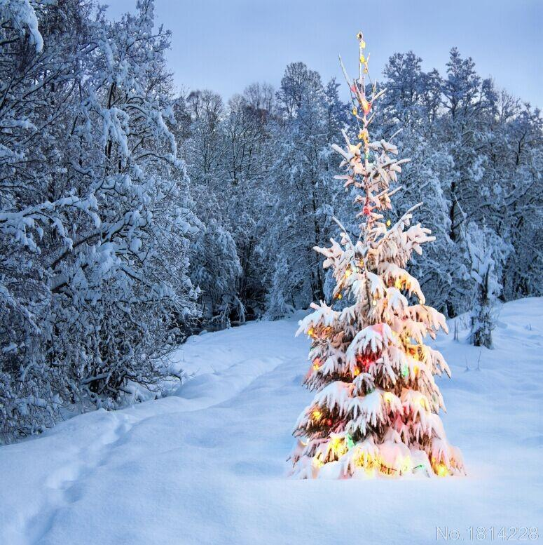 3x5ft Snow Winter Forest Field Baubles Christmas Tree