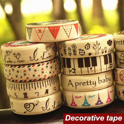 Гаджет  6 pcs/Lot Cotton cloth tapes Linen Music Love Tower masking decorative adhesive tape scrapbooking tools stickers Stationery 6465 None Офисные и Школьные принадлежности