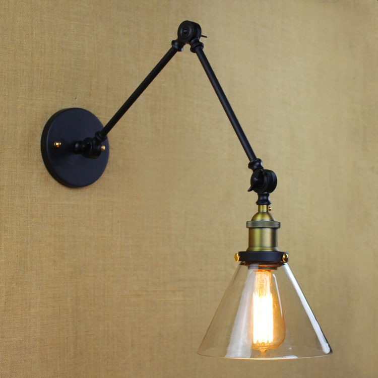 Arm Length 35cm*2 and more,40W Edison Bulb Loft Vintage Wall Light with Clear Glass Lampshade ...