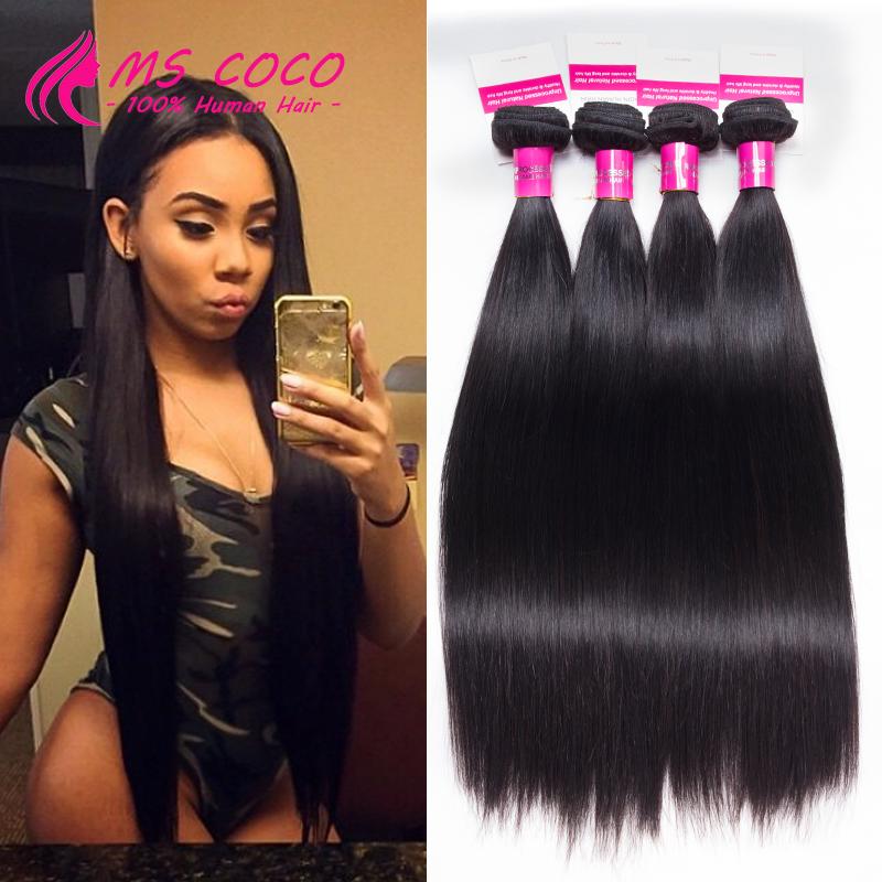 4 Bundles Brazilian Virgin Hair Straight Rosa Hair Products 8A Grade Virgin Unprocessed Human Hair Brazilian Hair Weave Bundles(China (Mainland))