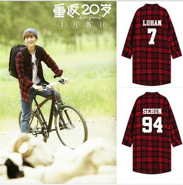 Kpop пальто EXO рубашка к - одежда Polito BTS Bangtan мальчики V красный черный плед ...